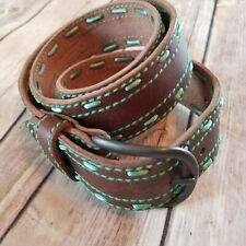 American Eagle Outfitters Brown Leather Belt Green Stitching Women's Size M