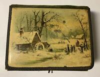 Vtg Antique VICTORIAN MUSIC BOX PHOTO ALBUM ~Snow Cabin Scene~Needs Repairs