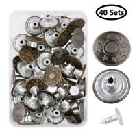 40 Sets 17mm Jeans Metal Button Tack Snap Buttons Replacement with Rivets+Box HQ