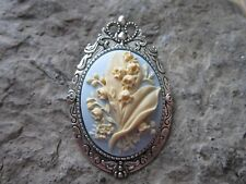 Cameo Brooch - Cream/Blue - Pin - Pendant 2 In 1 - Lily Of The Valley