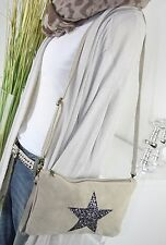 ITALY WILDLEDER IT BAG Sterne Tasche Leder CLUTCH Umhängetasche BEIGE Bag H/M-7