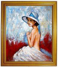Gemälde erotische Frau mit Hut, Nude, Portrait Ölbild 100% handgemalt F50x60cm
