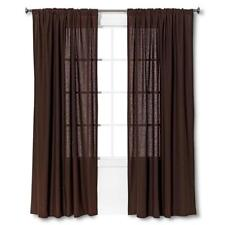 """Threshold Window One Panel Curtain Brown Linen Look 54"""" W X 95"""" L New Free Ship"""