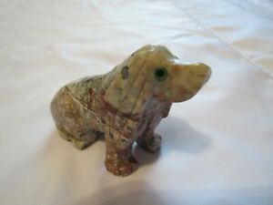 Peruvian Hand carved Soapstone Puppy DOG sitting Figurine
