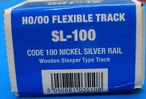 HO Scale  PECO STREAMLINE SL-100 Code 100 NS 3' Flex Track w/Wooden Ties 25-pack
