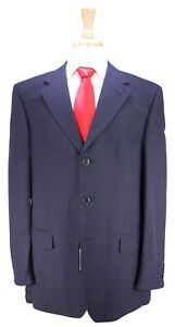 NWT New Z ZEGNA Solid Navy Blue Linen-Viscose 3-Btn Suit 42R