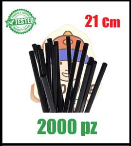 2000 Cannucce nere cocktail bar 21 centimetri per aperitivi succhi centrifugati
