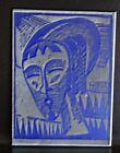 """Karl Schmidt-Rottluff Rare Metal Printers Plate Woodcut Womans Head 3"""" x 2"""""""