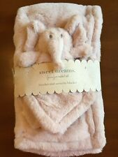 Sweet Dreams Pink Elephant Lovey and Blanket Set Soft Plush and Velour New