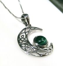 Funky 925 Sterling Silver Celtic Half Moon Pendant with Real Malachite and Chain