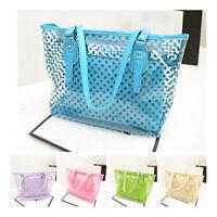 Women Transparent Handbag Tote Shoulder Bag Clear Dot Jelly Purse Clutch PVC Bag