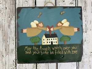 Hand Painted Country Folk Art Slate Sign Angels Watch Over You Home Filled Love