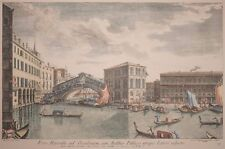 Beautiful Hand Colored Print of Venice Grand Canal Looking East From Santa Maria