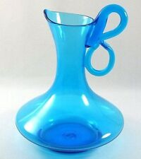 Vintage Mid Century Modern Bischoff Art Glass Pitcher Peacock Blue