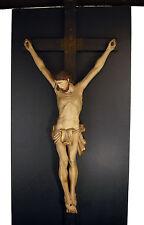 Christ janséniste XVIII/XIX en bois sculpté crucifix Christus Kruzifix H: 87 cm
