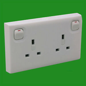 1 to 2 Gang UK Mains Switched Wall Converter Socket Single To Double White 3 Pin