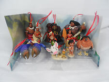 Disney Deluxe Moana Movie Christmas Ornament Figures 10pc Set Maui Heihei Pua