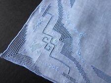 Vintage White Linen Wedding Hankie Hanky Blue Embroidery & Drawn work~BlueBells