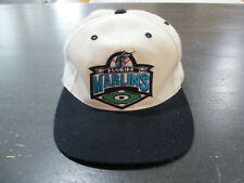 VINTAGE Florida Marlins Snap Back Hat Cap White Black MLB Baseball Miami 90s