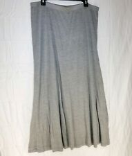C14 EILEEN FISHER  Rayon Slinky Knit Stretch Pull on Gray Maxi Skirt  XL 2 Layer