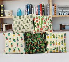 "18"" Cactus Flower Linen Pillow Case Throw Cushion Cover Home Decor"