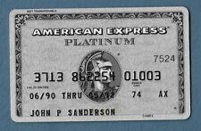 Vintage American Express Platinum Credit Card Expired 1992