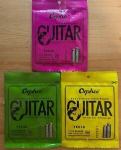 Acoustic Guitar Strings Orphee Light Medium 10-47 11-52 12-53 Gauges Free Pick