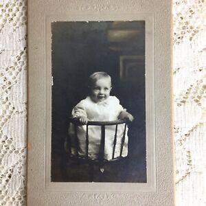 Antique Cabinet Card Photo Baby Little Boy Smiling Victorian Somner Lee Delaware
