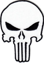 PUNISHER SKULL, WHITE w/BLACK -  MILITARY - ARMY - TACTICAL-COMBAT-IRON ON PATCH