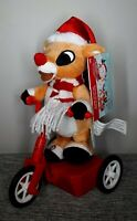 """Gemmy Christmas Rudolph Red Nose Reindeer Musical Scooter Animated Doll New 11"""""""