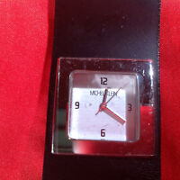 Michel Klein Silver Tone Square Face Black Leather Velcro Band Wrist Watch 8""