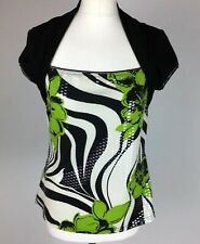 Joseph Ribkoff UK12 14 Black Lime Green Floral Clear Sequin Shrug Style Top