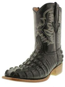 Mens Leather Cowboy Boots Black Alligator Tail Pattern Square Toe Bota
