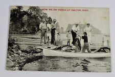 Vintage Dalton OH Ohio Fishing Family Fisherman Boat B&W Postcard Pabst Crate