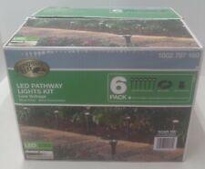 4pk Hampton Bay LED Low Voltage Blk Pathway Light Kit 30w Transformer 50' Cable