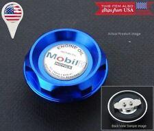 Blue Push Fit Type CNC Billet Engine Oil Cap Filler Cover + Silver Mobil Emblem