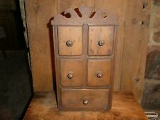 EARLY OLD PRIMITIVE FOLK ART HEART APOTHECARY SPICE CHEST 5 DRAWER CUPBOARD