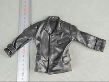 1/6 Scale Soldier Model Accessories Clothes Black Leather Coat Jacket