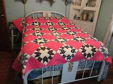 "Vintage Quilt Hand-pieced Blue Pink Patchwork Quilt Unused Approx 77"" x 82"""