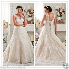 V Neck Lace Plus Size A-Line White/Ivory Wedding Dress Bridal Gown Custom 4-28++