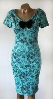 Dress Lindy Bop Pencil Wiggle UK 10 BNWT Green Print Stretch Bow Detail