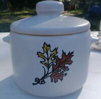 Vintage West Bend Pottery Stoneware Bean Pot crock with lid 2 quart- Fall Leaves