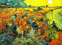 "Vincent Van Gogh *FRAMED* CANVAS ART Red Vineyards at Arles 24x16"""