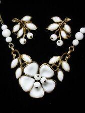 40's Crown Trifari Poured Milk Glass Dogwood Necklace & Earrings~Demi Parure~Set