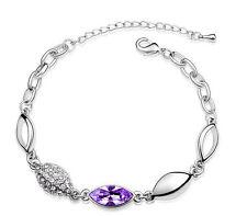 Elegant Light Purple Violet Water Drop and Silver Crystal Bracelet BB54P
