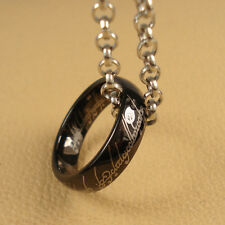 New LOTR Tungsten Carbide Black IP Band Ring Pendant Width 6mm With Chain Size 9