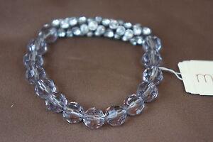 Macys Bracelet Silver Bell Rhinestone Clear Beads Stretch