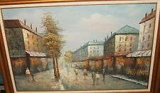 "HENRY ROGERS ""MARKET STREETS OF PARIS SCENE"" HUGE OIL ON CANVAS PAINTING"
