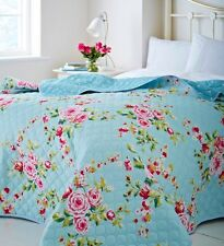 Duck Egg Blue Canterbury Floral Print Roses Bedspread 240cm by 260cm