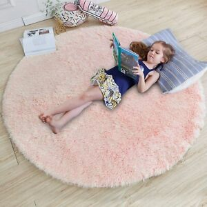 Alfombra Rosada Cama Niña Pink Round Rug Girls Bedroom Nursery Baby Room Carpet